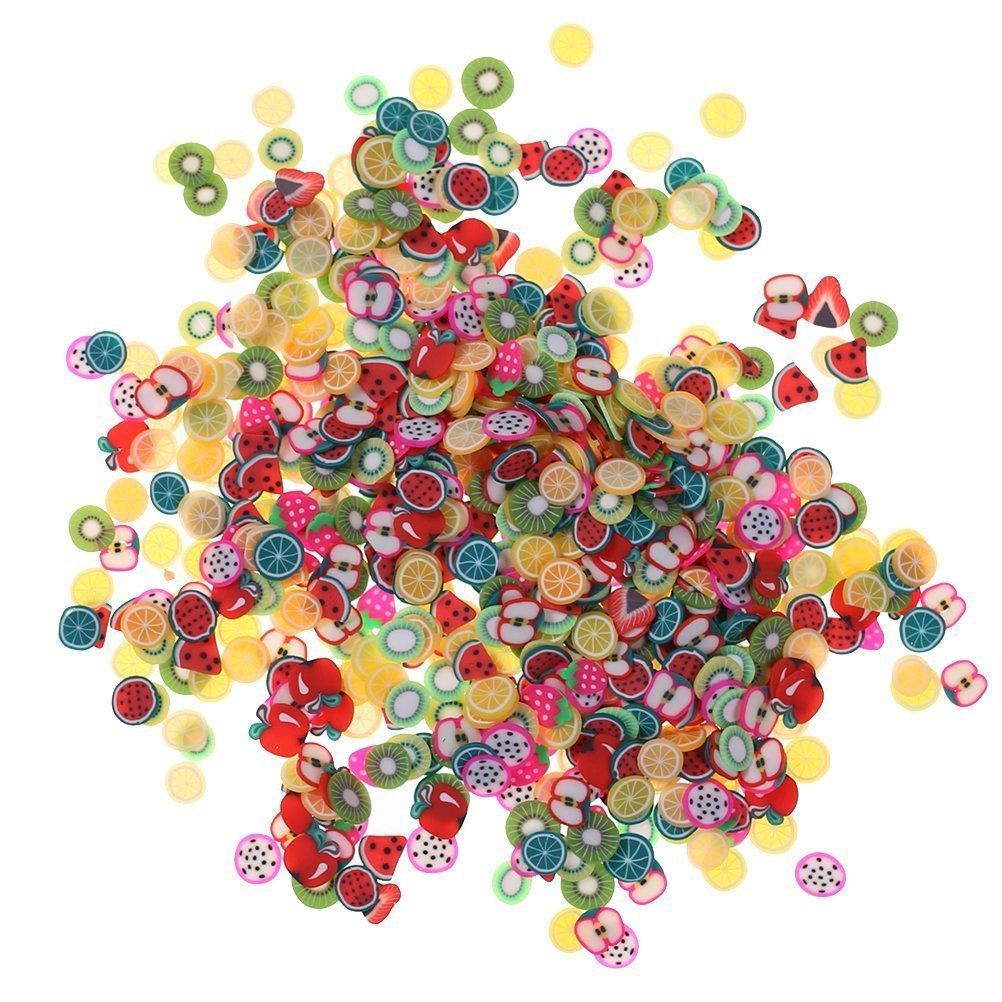 1000pz assortiti Fimo 3D frutta modello fette perfette per attacco a Slime, nail art, artigianato fai da te Decorazione di Kinxor