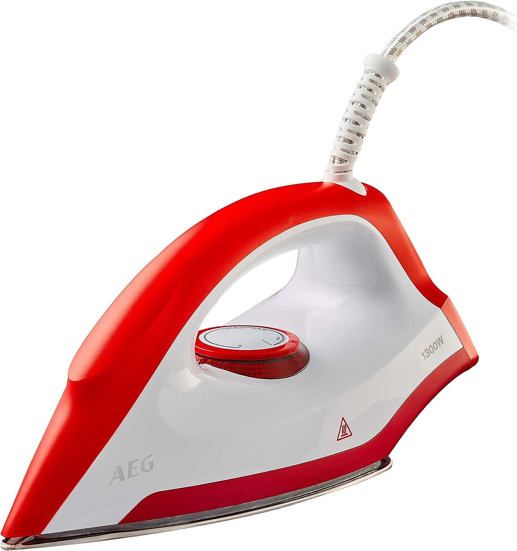 AEG LB1300 Plancha Seco, Control de Potencia, Suela Acero Inoxidable, Mango Ergonómico, Longitud cable de 1.9m, 1.3 W, Rojo: Amazon.es: Hogar