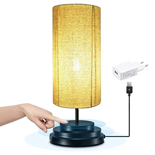 Bonlux Regulable 4W 5V Redonda LED Lámpara Moderna de Mesilla con Sensor de Tacto, Lámpara Vintage Mesita para Noche, LED Lámpara Escritorio para ...