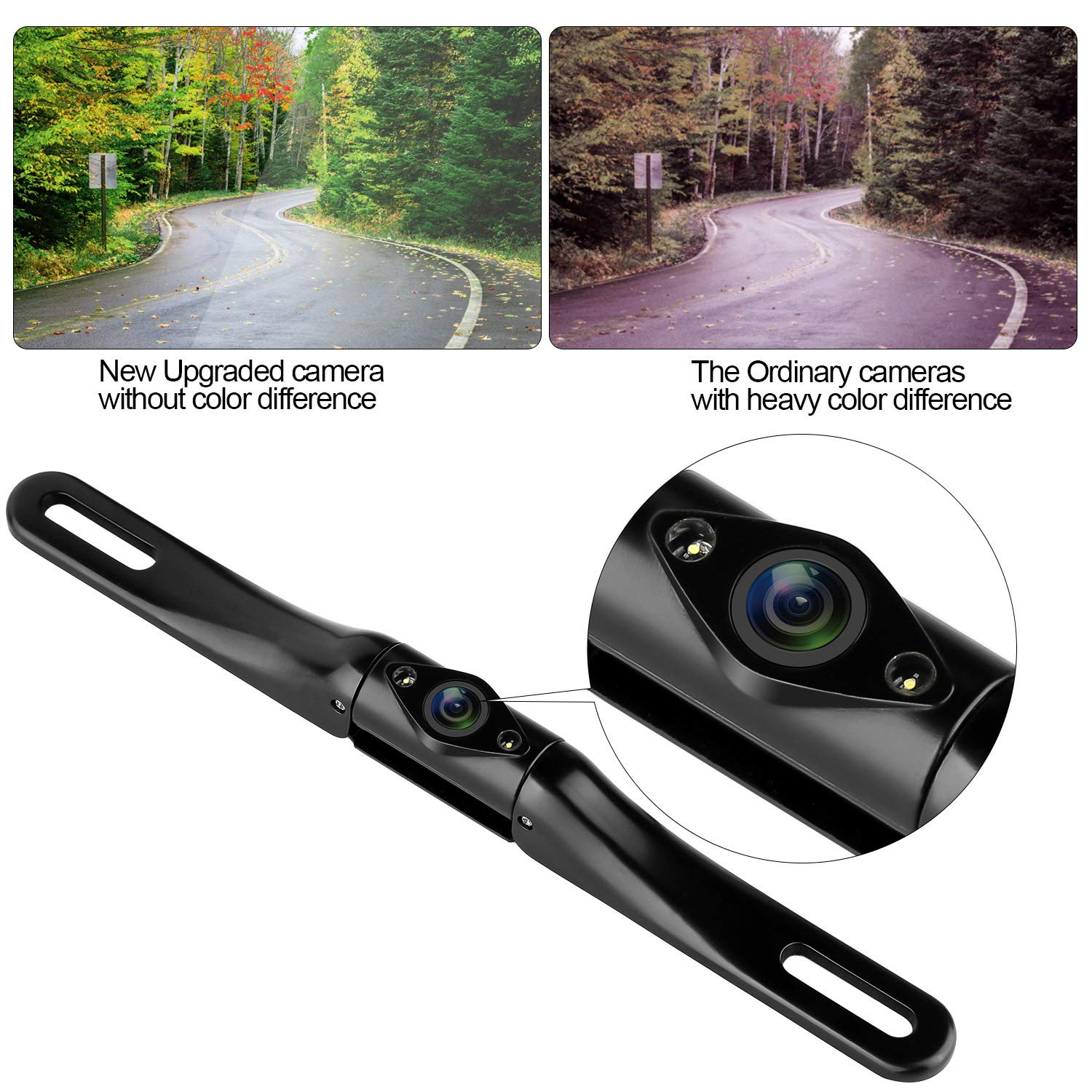 LeeKooLuu Car Backup Camera HD Color 2-LED Night Vision 150/° Viewing Angle IP68 Waterproof with Intelligent Switch Guide Lines ON//Off Rear View//Front View Switchable and Reverse//Continuous Use