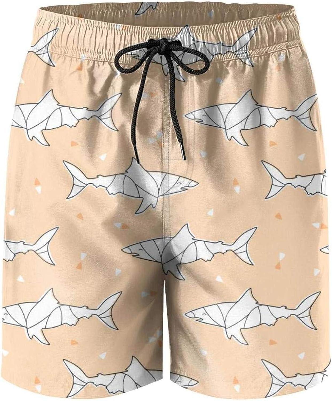Cartoon Shark Womens Sport Beach Swim Shorts Board Shorts Swimsuit with Mesh Lining