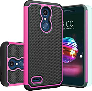 Huness Compatible with LG K30 Case,LG K10 2018 Case with HD Screen Protector Huness Durable Armor and Resilient Shock Absorption Case Cover for LG K10 2018,LG K30 Phone (Pink)