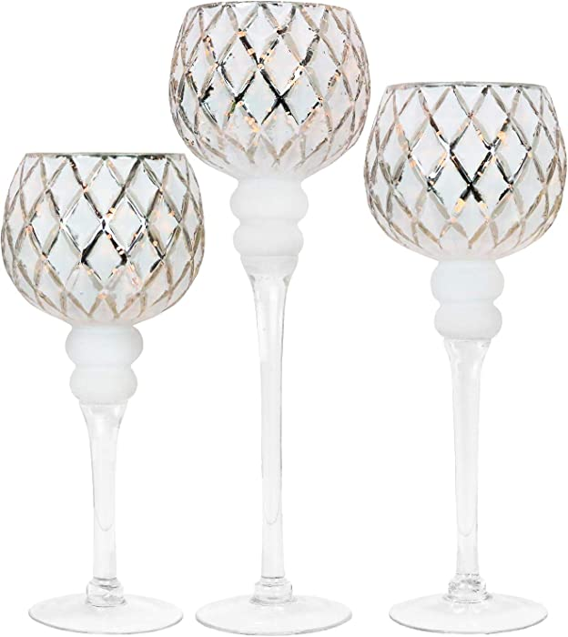 "Galashield Candle Holders Set of 3 Glass Hurricane Votive Tealight and Floating Candle Stand Centerpieces for Wedding Table Silver/White (16"", 13.5"", 12"" High)"