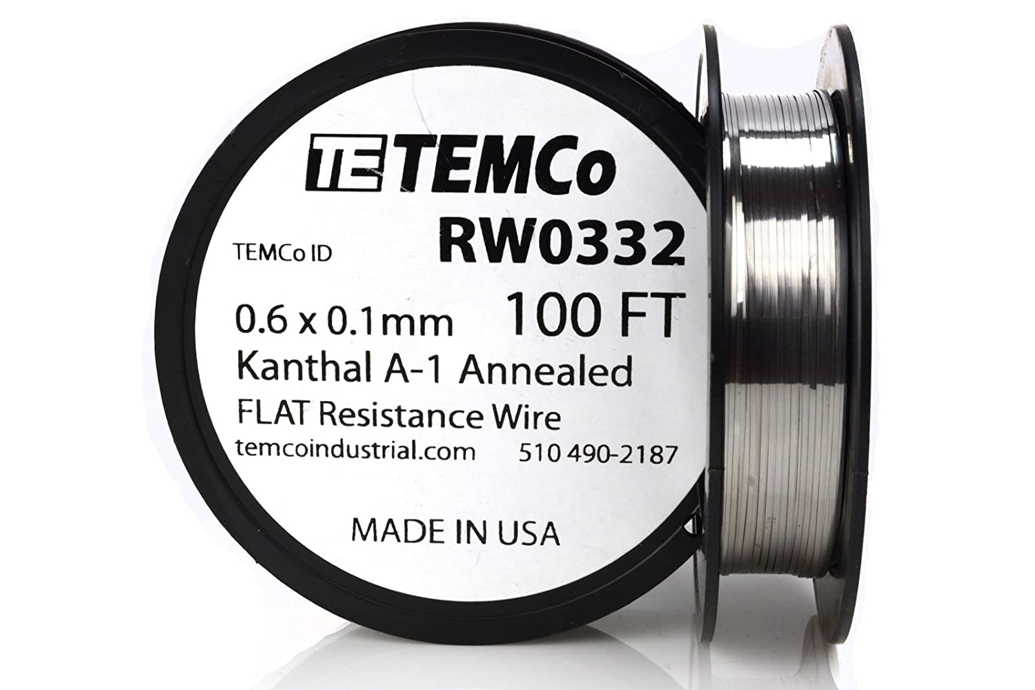 TEMCo Flat Ribbon Kanthal A1 Wire 0.6mm x 0.1mm 100 Ft Resistance A ...