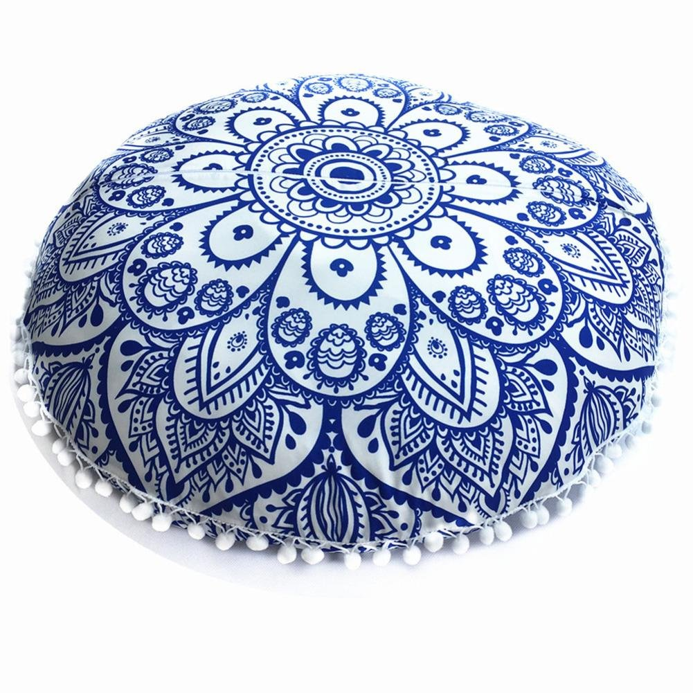 Hot Sale! Hongxin Large 72x72cm Mandala Floor Pillows Bohemian Meditation Cushion Cover Round Pouf Retro Boho Tapestry Cover Cases Christmas Decor Clearance (Blue)