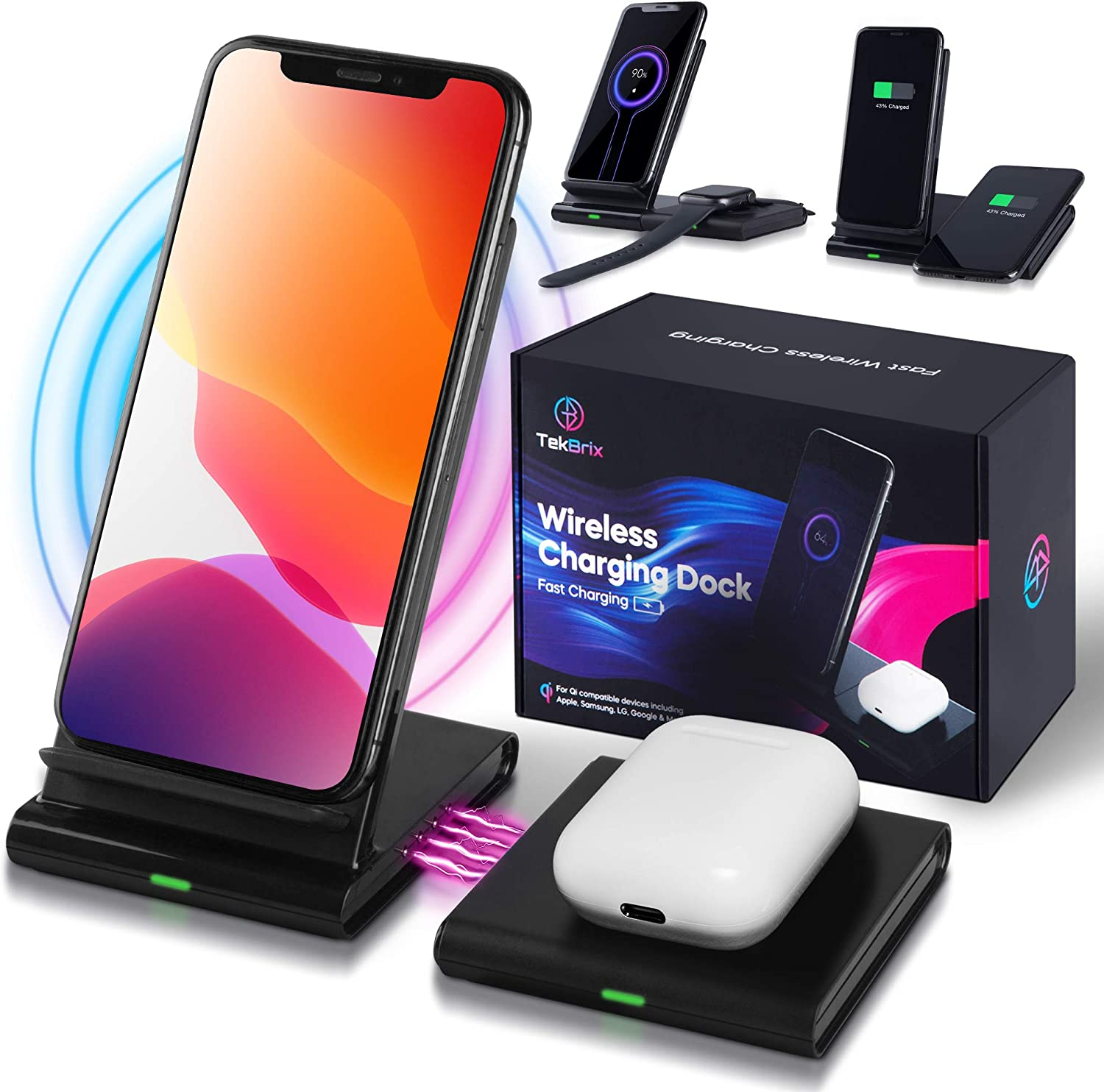 TekBrix Wireless Charger 2 in 1 - Dual Wireless Charging Dock - Fast Charger 10W Max - for Qi Devices, iPhone 11/11 Pro/11 Pro Max/XR/Xs Max/XS/X/8/8+, Samsung S20/S10/S9, Note 10/9 - No Adapter
