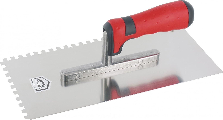 anthrazit rostfrei 20 mm Edelstahl Gl/ättekelle 28 x 13 cm mit Zahnung und 2K Griff rot