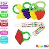 Mammas Club 5 Fruit Baby Teething Toys with Pacifier Clip/ Holder - Non-Toxic, BPA, Latex and Phthalate Free Silicone Teethers- Soothing, Soft, Durable and Freezer Safe