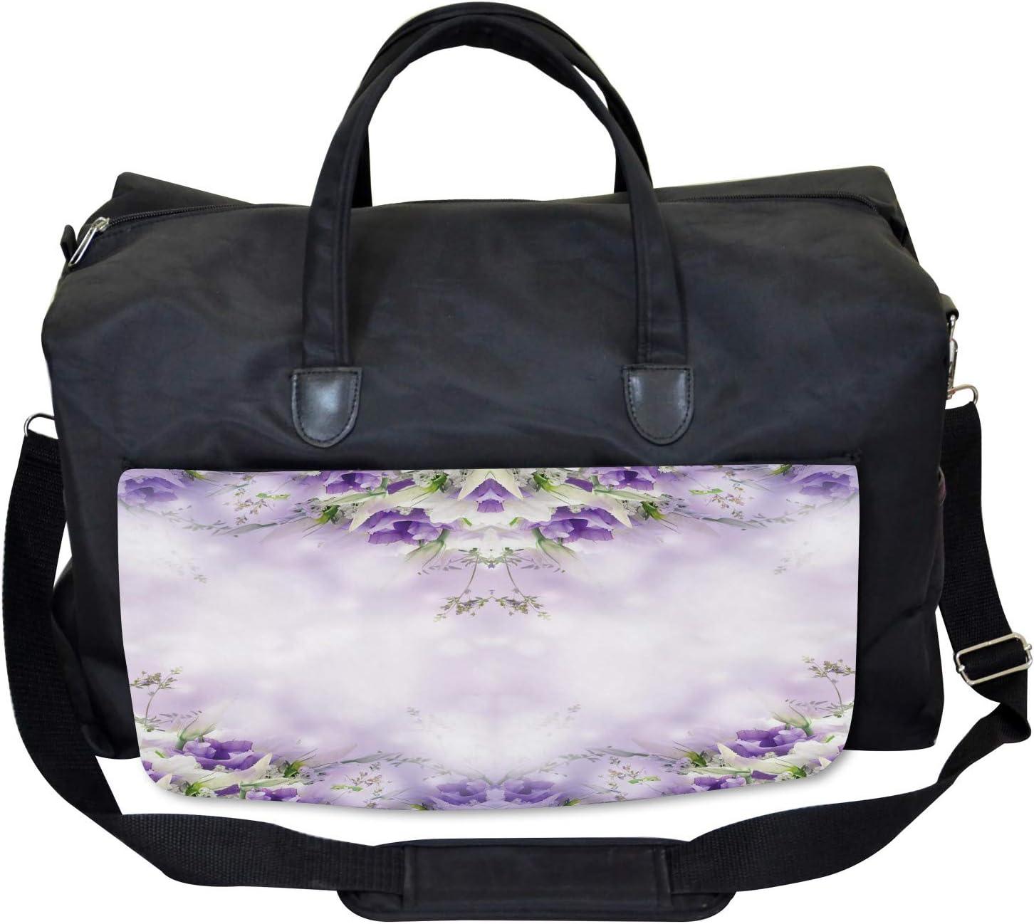 Large Weekender Carry-on Ambesonne Floral Gym Bag Spring Flower Bloom
