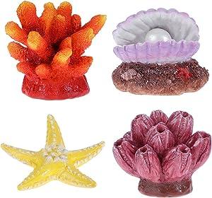 UEETEK 4 Pack Artificial Coral Plant Seastar Shell Decor Aquarium Reef Ornament Resin Crafts Decoration for Fish Tank