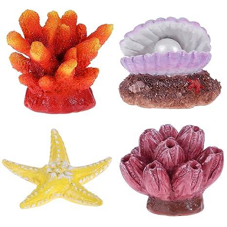 UEETEK Decoración para Acuario, Decoración para pecera, Adornos de Acuario de plástico, Colorido