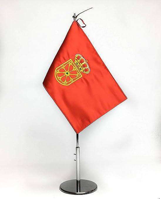 ABBE Global Bandera de Mesa Bordada de Navarra 15x25 y mástil ...