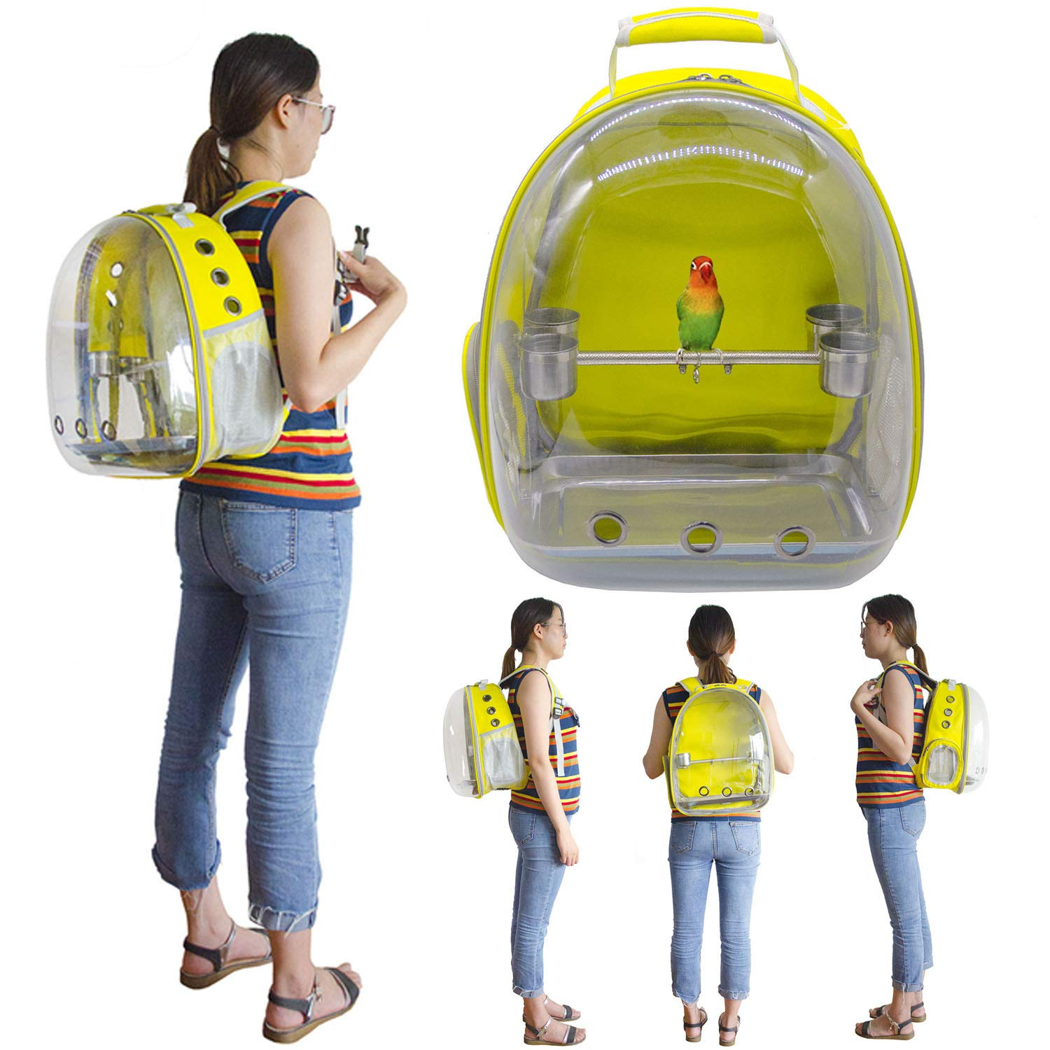Deloky Parrot Bird Carrier Space Capsule -Transparent Breathable 360° Sightseeing Outdoor Bird Travel Bag Backpack with Stainless Steel Bird Stand perches (Yellow) by Deloky