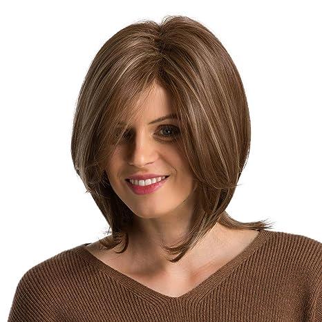 Qhj Perücke Für Damennaturbraun Mittellanges Bobo Glattes Haar