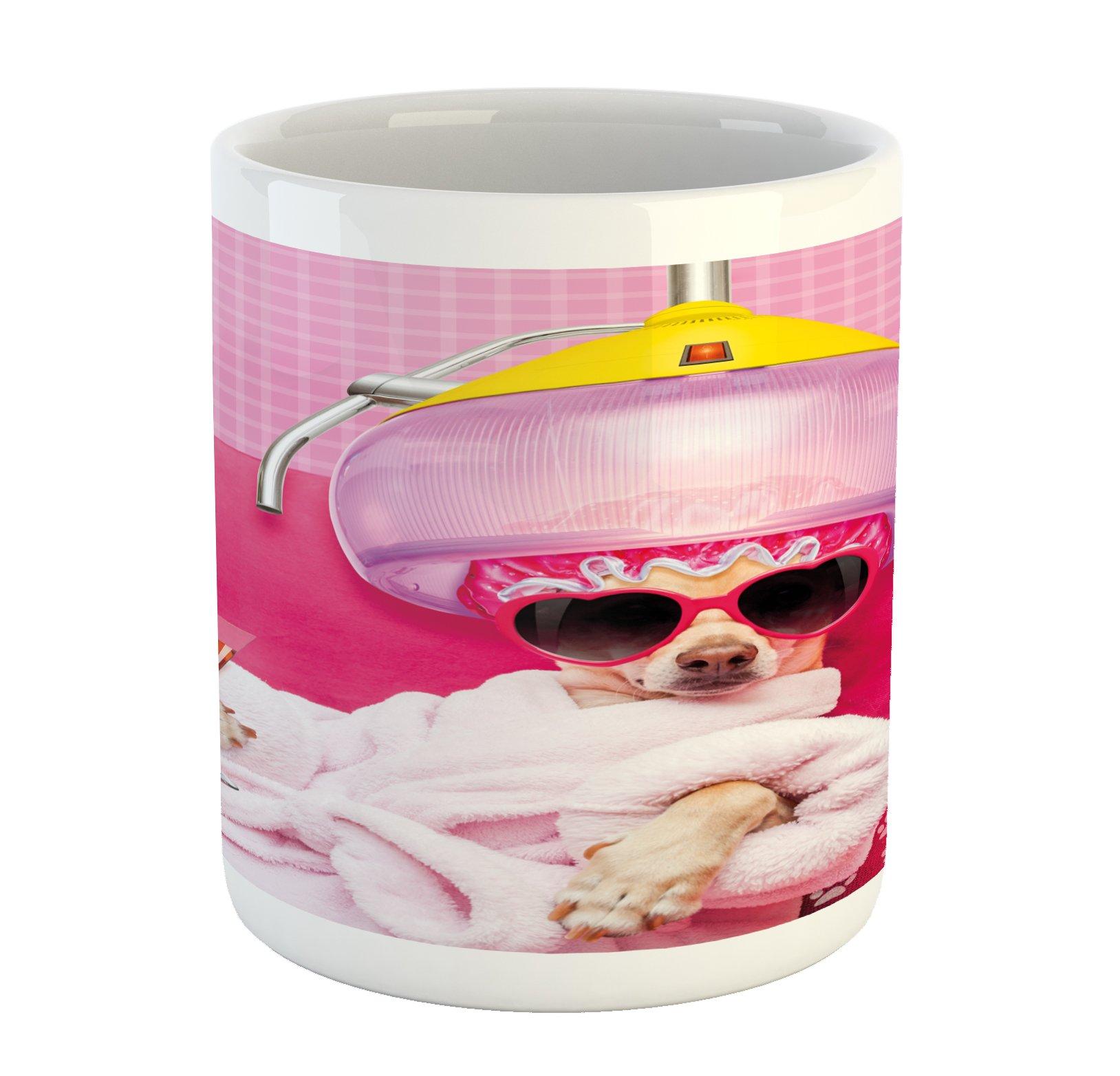 Lunarable Funny Mug, Chihuahua Dog Relaxing and Lying in Wellness Spa Fashion Puppy Comic Print, Printed Ceramic Coffee Mug Water Tea Drinks Cup, Magenta Baby Pink
