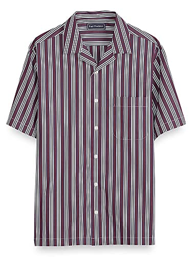 1950s Men's Clothing Paul Fredrick Mens Cotton Stripe Short Sleeve Casual Shirt $85.00 AT vintagedancer.com