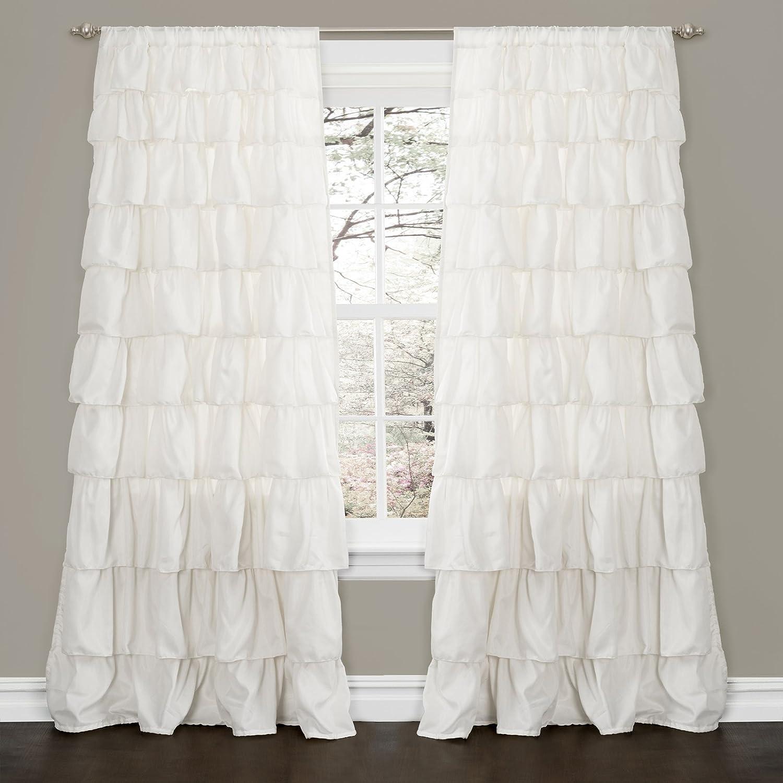 Ombre ruffle curtain - Amazon Com Lush Decor Ruffle Window Curtain Panel 84 By 50 Inch White Home Kitchen