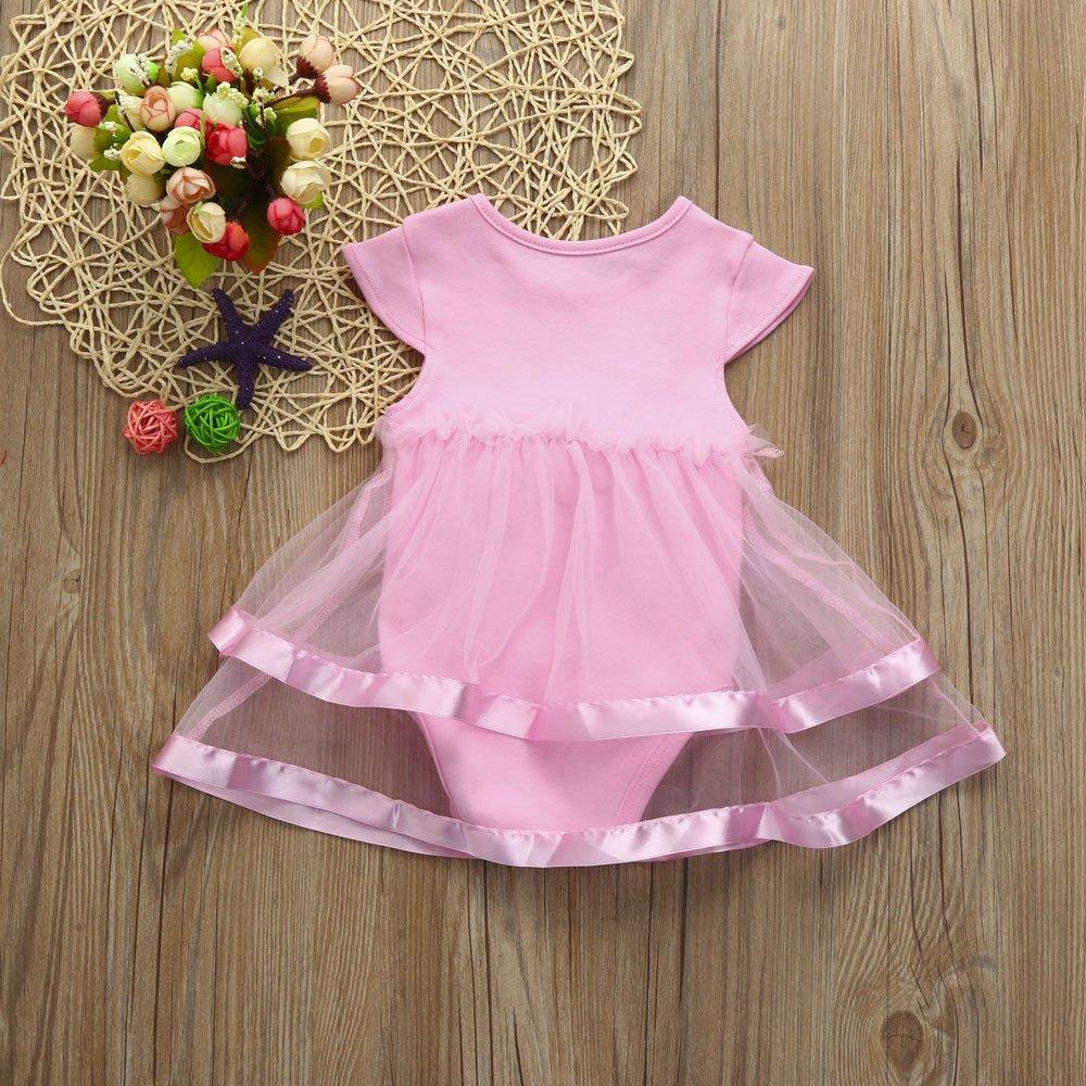 LISTHA Tutu Bow Mini Dress Baby Girls Birthday Clothes Party Jumpsuit Princess