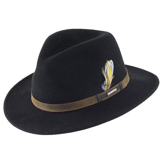 3bbec077 Stetson Hats Sardis Vita-Felt Fedora - Black: Amazon.co.uk: Clothing