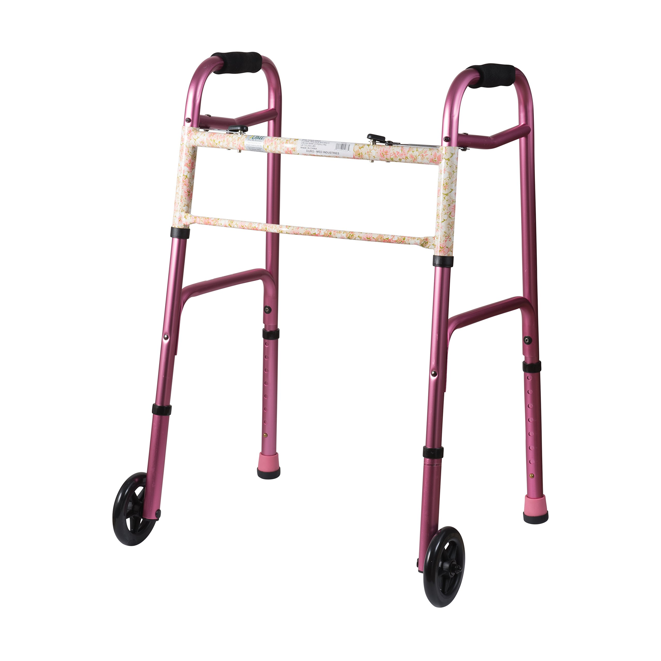 DMI Lightweight Aluminum Folding Walker with Easy Two Button Release, 5 Inch Wheels, Adjustable Height, Pink Floral by Duro-Med