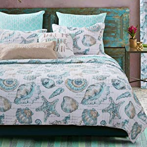 3 Piece White Teal Beach Theme Quilt Full Queen Set, Bright Ocean Coastal Bedding Seashells Dreamy Poetic Phrases Seaside Fishnet Pattern Nature Nautical Star Fish Coral Lake House Cottage, Polyester