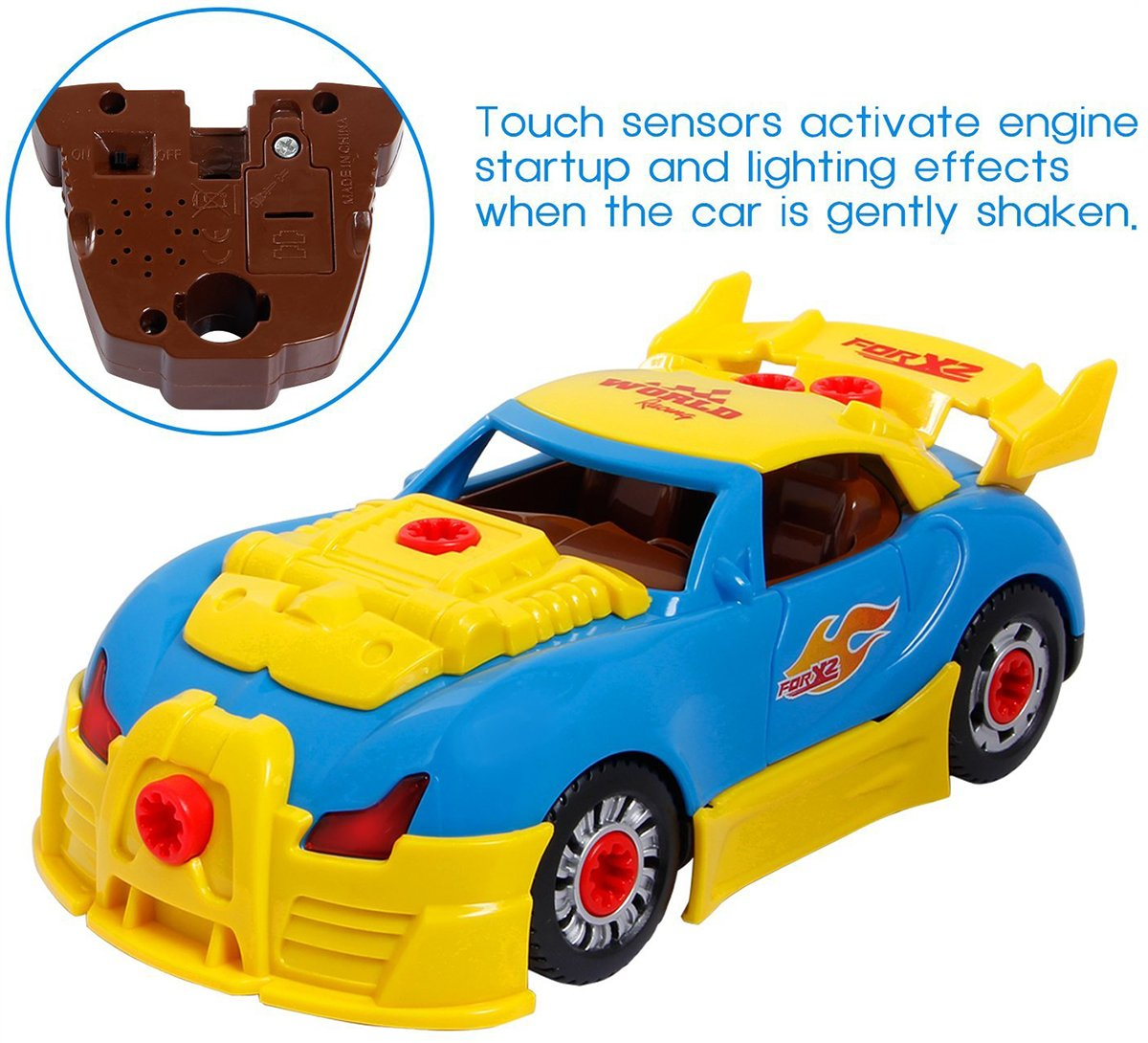 CoolToys Custom Take-A-Part Car Playset – Sports Car with Electric Play Drill and 30 Car Modification Pieces – Motion Activated Lights and Sounds by CoolToys (Image #5)