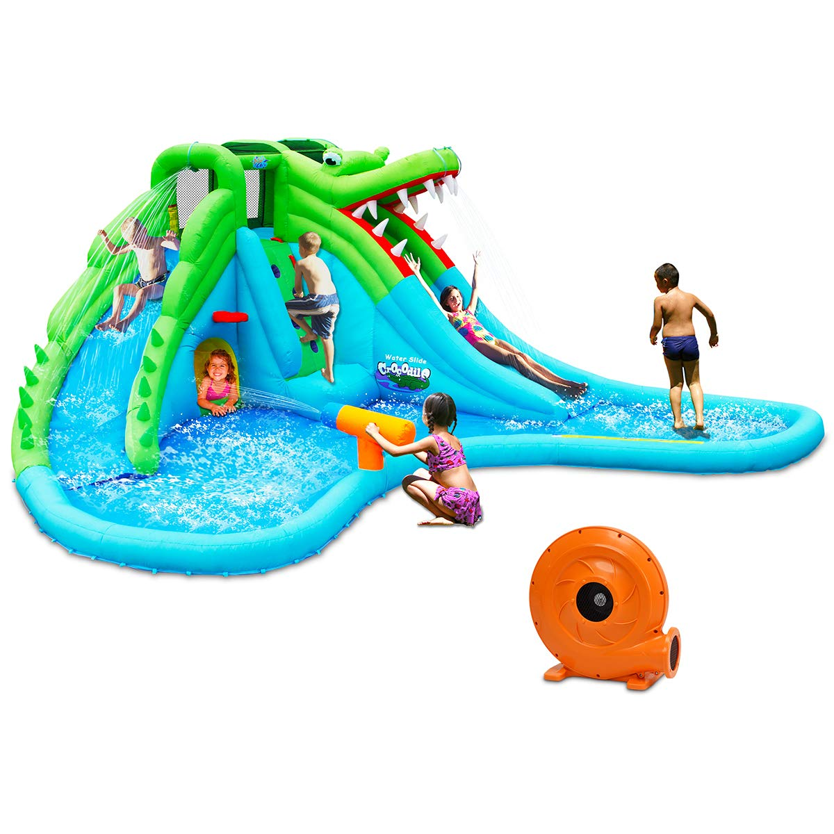 Costzon Inflatable Pool Bouncer, Crocodile Themed Bounce House w/Two Water Slides, Climbing Wall, Basketball Rim, Tunnel, Kids Water Park, Including Carry Bag, Hose, Repair Kit, 780W Air Blower by Costzon