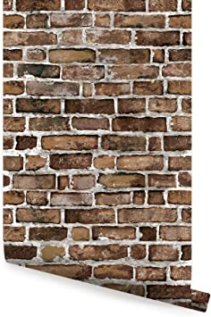 Brown Brick Wallpaper Peel And Stick 2 Ft X 4 Ft Single By Simple Shapes Amazon Com