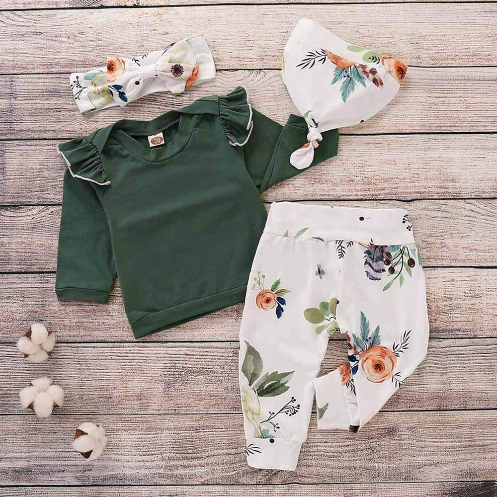 4PCS Toddler Baby Outfits Set Girls Floral Print Ruffles Top Flower Pants Cap Headband