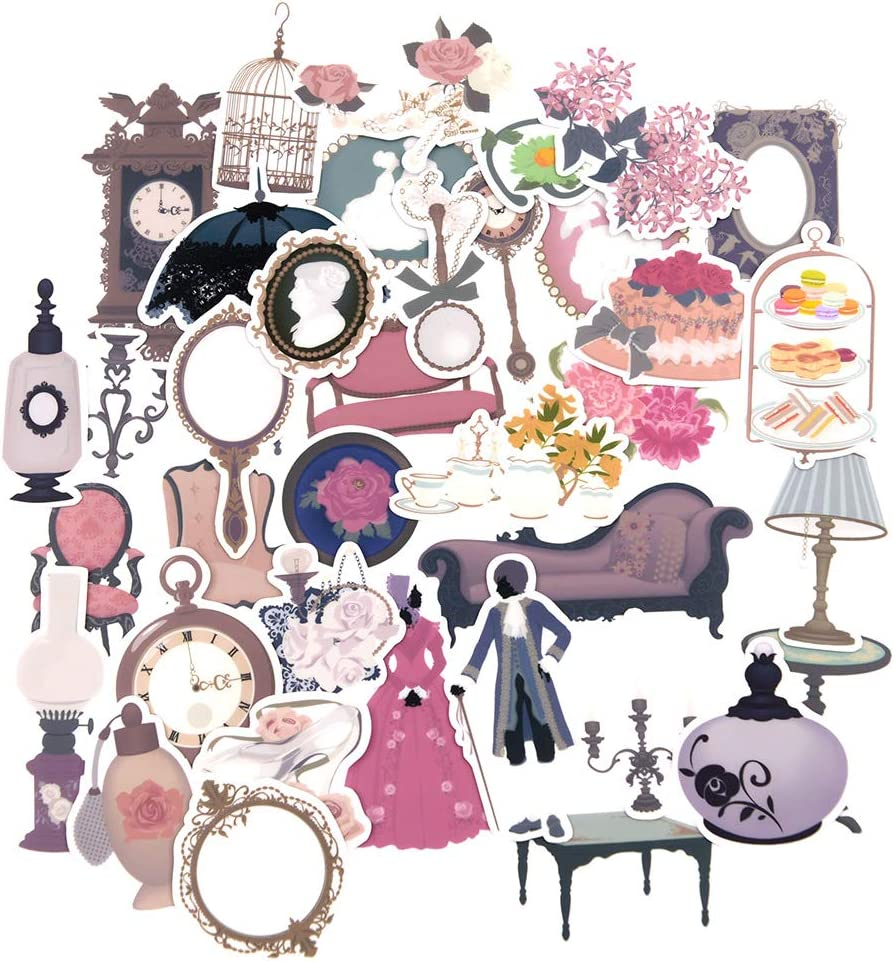 Yummy Bun Vintage Girls Princess Stickers Decals for Laptop, Water Bottles,Scrapbooking, Phone Cases, Retro Valentine Stickers for Girls,Baby Shower,Small Gothic Girl Stickers Pack-37pcs