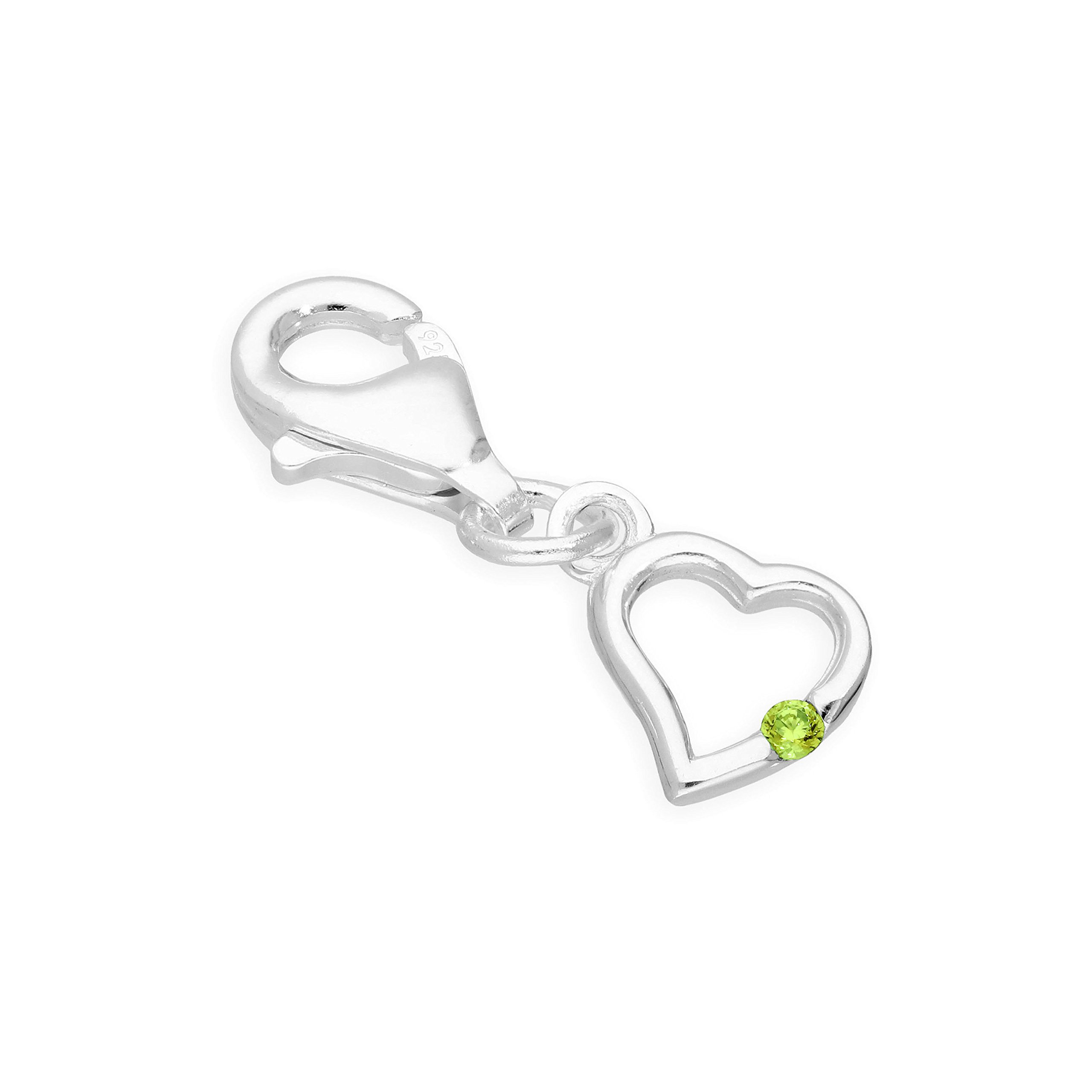 jewellerybox Sterling Silver & Peridot CZ Crystal August Birthstone Heart Clip on Charm