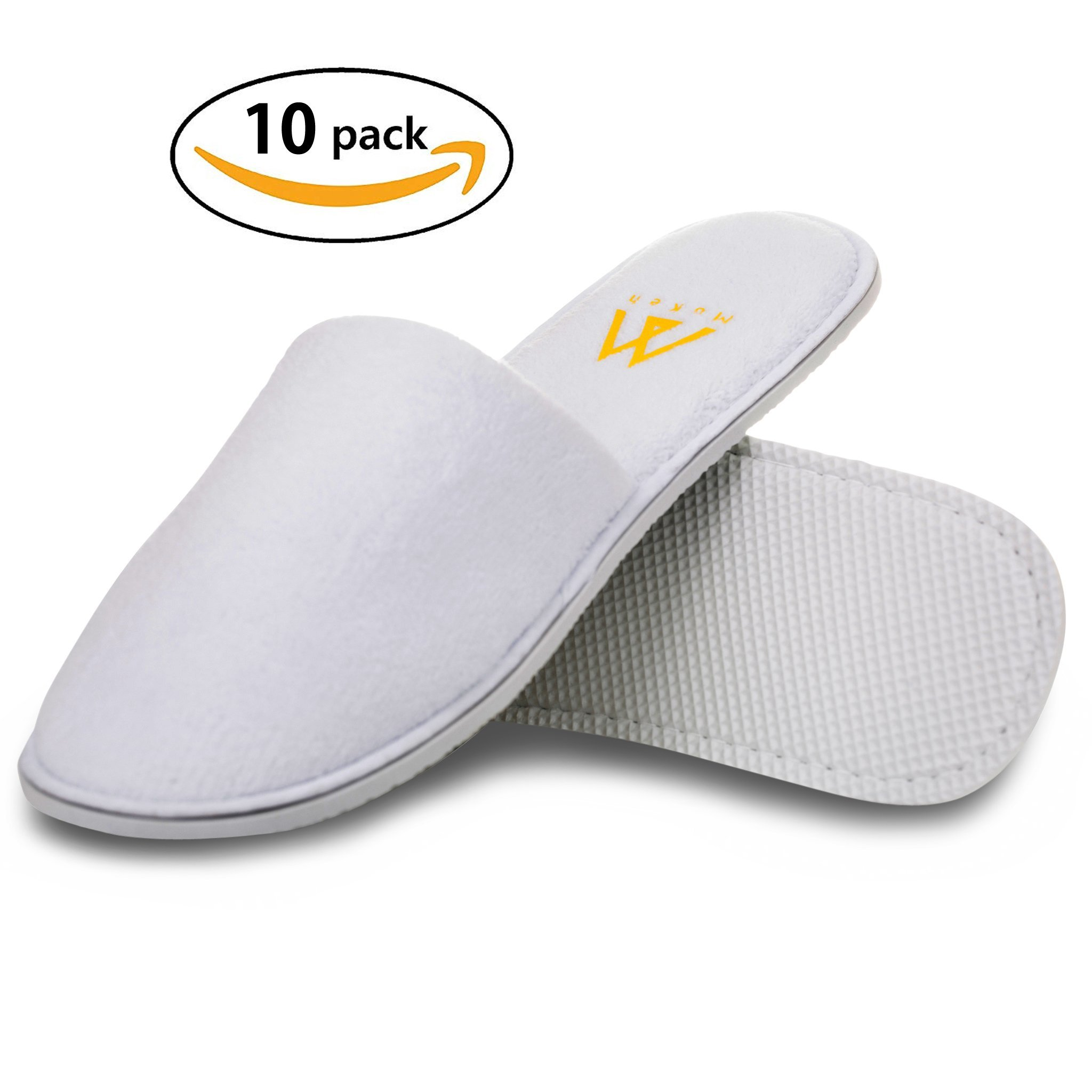 Men and Women disposable Closed Toe Spa Slippers Pack of 10 Pairs (5 Men's & 5 Women's pairs) – Fluffy Coral Fleece Indoor Hotel Slippers for Women and Men and Home Guests