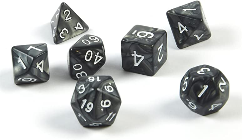 shibby 7 dados poliédricos en negro para juegos de rol y mesa, incluye bolsa: Amazon.es: Juguetes y juegos