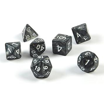 shibby 7 dados poliédricos en negro para juegos de rol y mesa, incluye bolsa