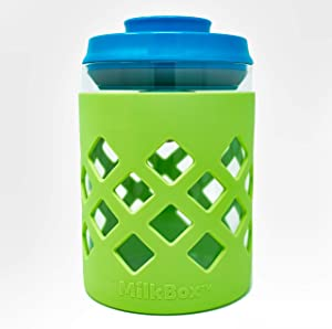 MILKBOX Glass Airtight Push Button Pop Top Food Storage Container - BPA Free - 1.0 Qt for Sugar, Baby Formula, Coffee, Flour, Rice, Nuts & More