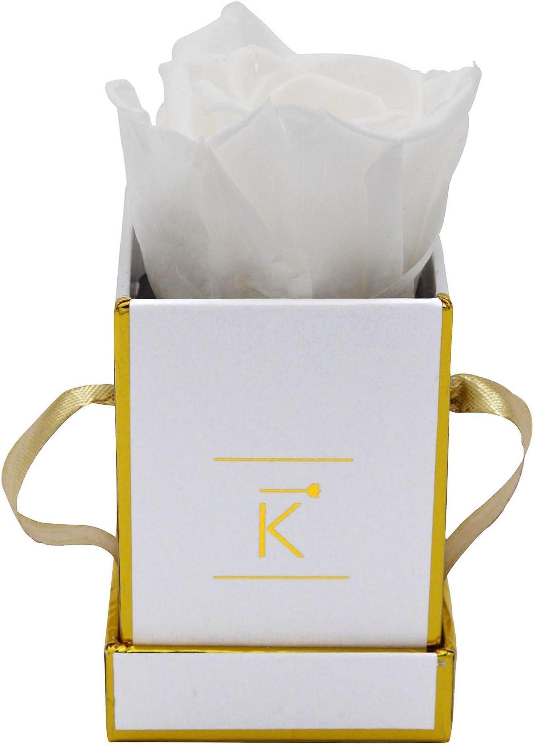 Triple K - Caja para rosa (cuadrada, hasta 3 años, incluye tarjeta de felicitación), blanco, xx-small