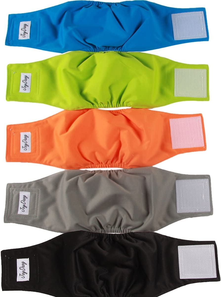 JoyDaog Reusable Belly Bands for Dogs,5 Pack Washable Dog Diapers Male Puppy Nappies Wrap