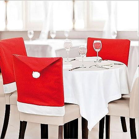 Jessie y letty – Pack de 6 fundas de silla de comedor de Papá Noel cláusula gorro de Papá rojo para sillas, diseño de gorro de Navidad Fiesta de Navidad decoración: Amazon.es: