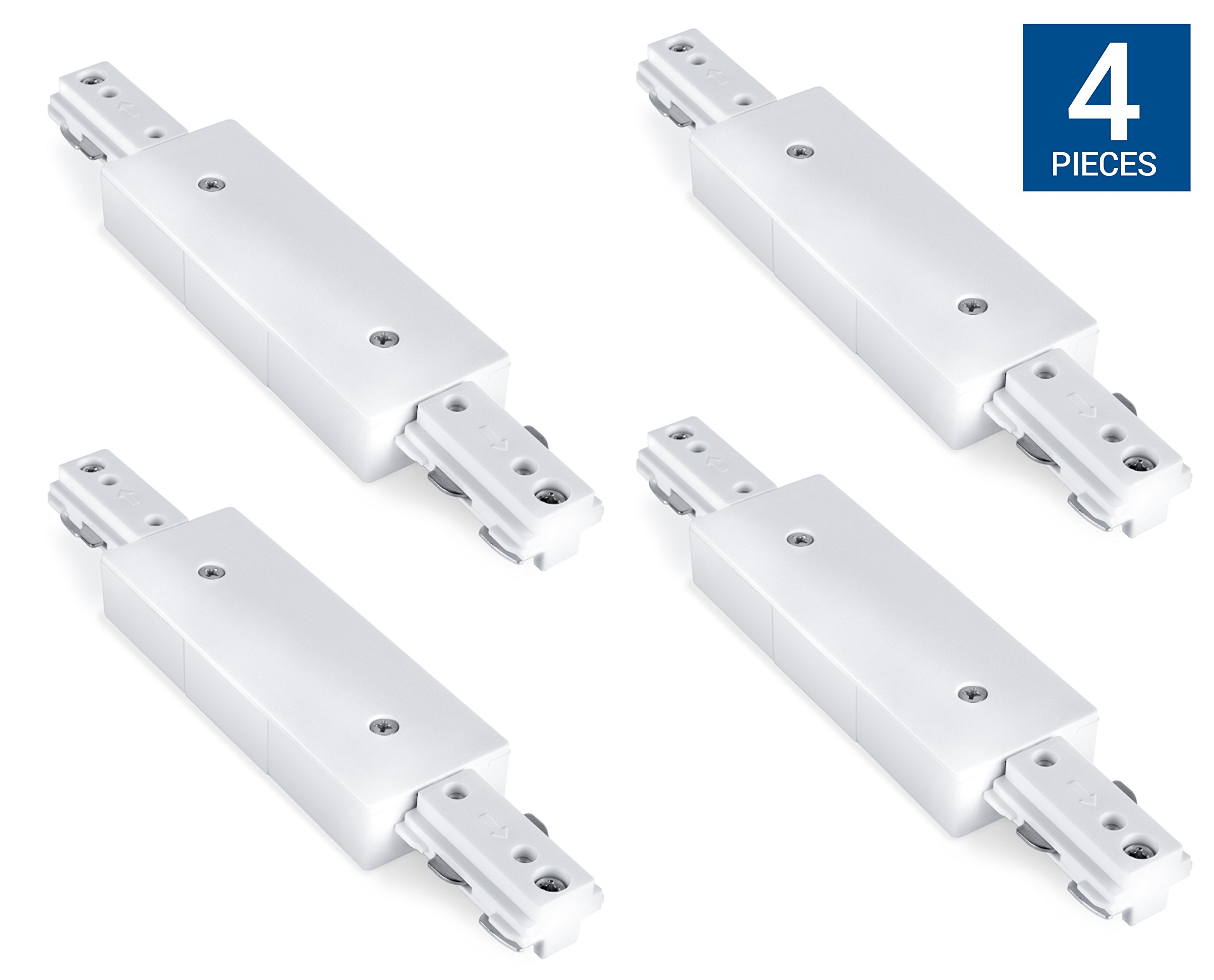 Hyperikon H Track Lighting Connector, I Straight Track Connector, White Single Circuit 3-Wire Track Light Joiner (Pack of 4)