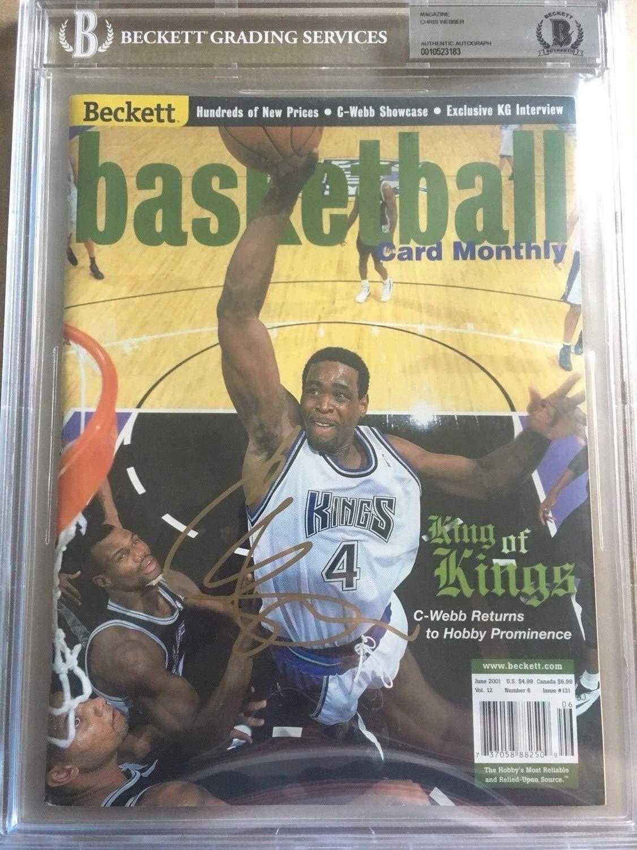 Chris Webber Autographed Signed Memorabilia Magazine Beckett Authenticketball 2001 Beckett Slabbed Bas