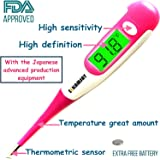 Best 2017 FDA Digital Medical Thermometer , Easy Accurate and Fast 10 Second Read & Monitor Fever Temperature , Flexible Tip ,Waterproof for Baby ,Kids, Adults, Pets ,Oral, Underarm,Rectal- Pink