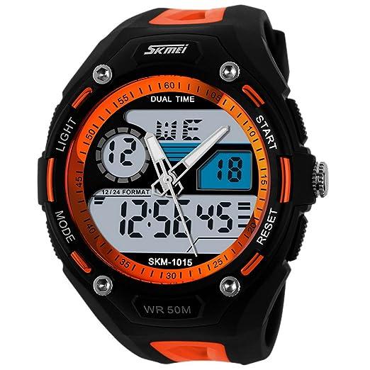 Panegy - Reloj Digital Deportivo con Doble Horarios y Múltiples Funciones Resistente al Agua para Hombres-Color Naranjado: Amazon.es: Relojes