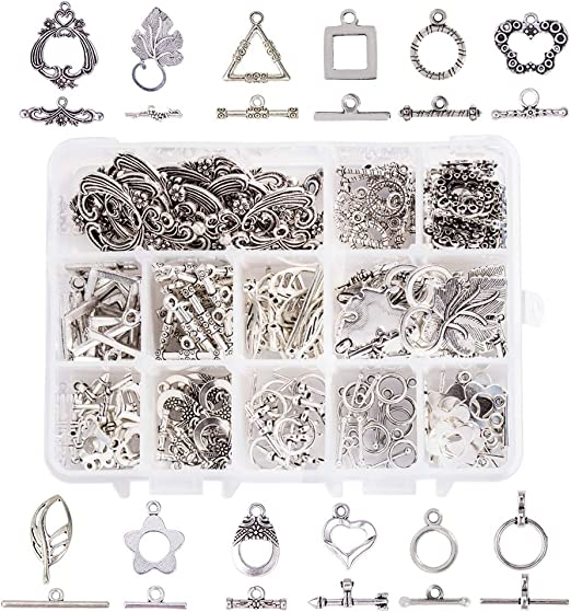 Metal Alloy Flower Toggle Clasps Antique Silver 16 x 20mm  30 Pcs DIY Jewellery