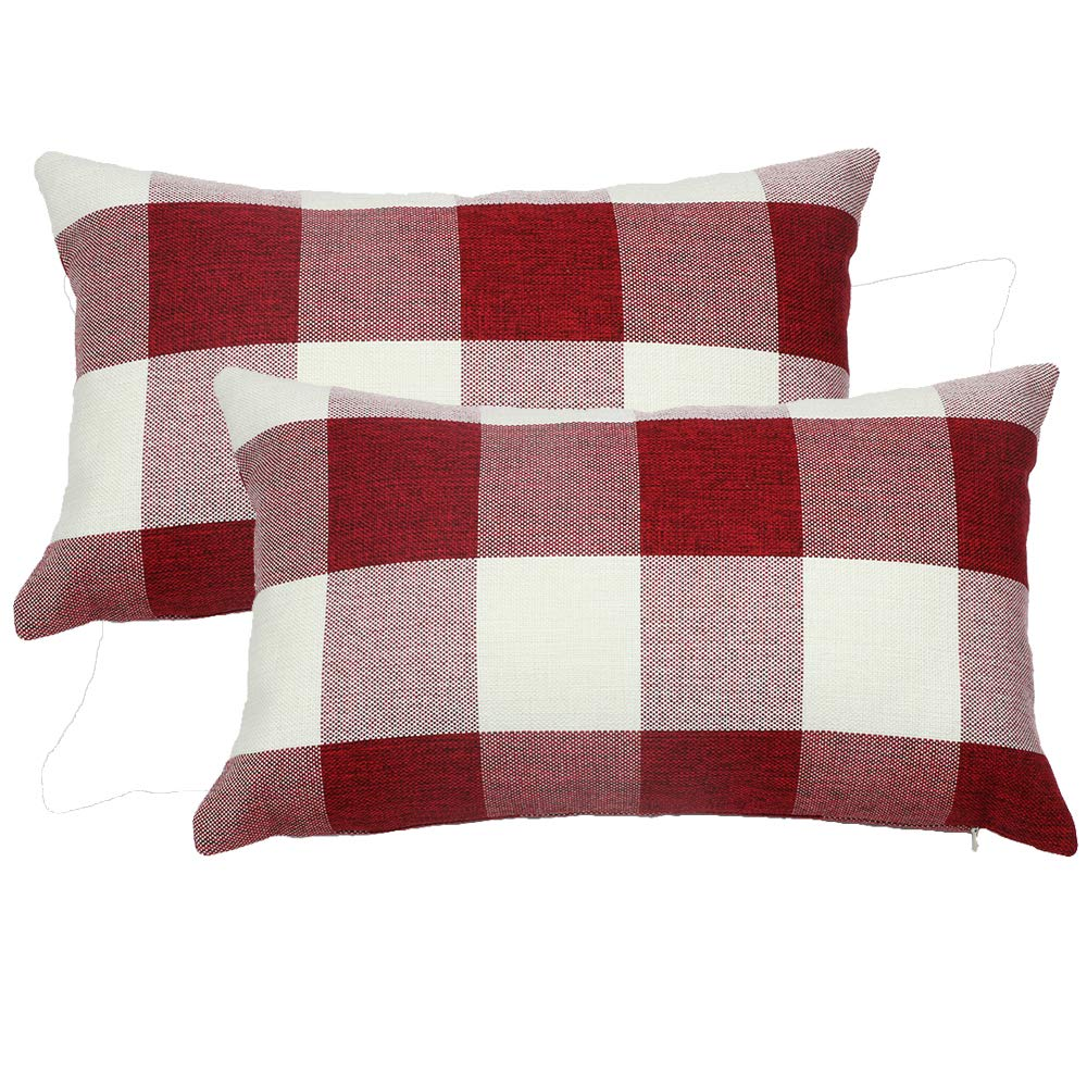 Pack of 2 20x20, Color 2 famibay Pillow Covers Square Tartan Cotton Linen Throw Pillow Case Decorative Cushion Cover for Couch Sofa Bedroom Car