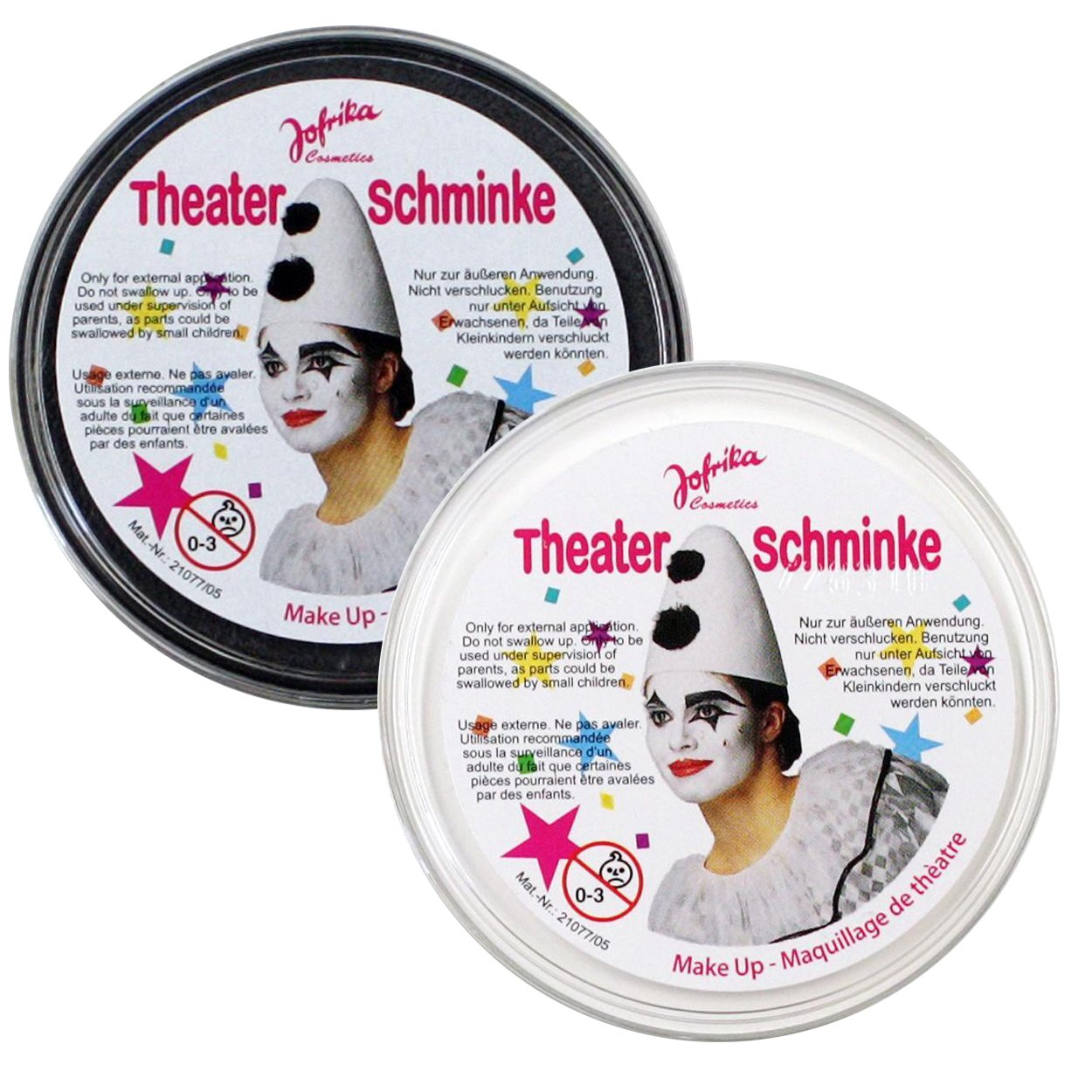 Doppelpack Theaterschminke Schwarz Weiss 50ml Halloween