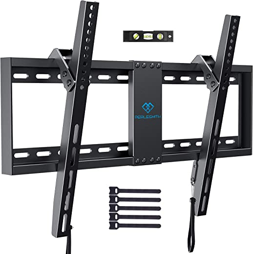 """PERLESMITH Tilt Low Profile TV Wall Mount Bracket for 32-82 Inch LED LCD OLED Flat Screen TVs – Fits 16""""- 24"""" Wood Studs, Tilting TV Mount with…"""