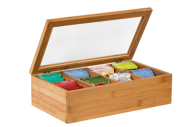 Saganizer Tea Box Tea Storage Bamboo Natural, Nice Tea Chest Tea Packaging Good for Tea Bag Holder