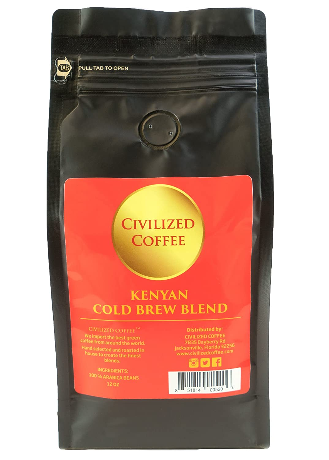 Cold Brew Coffee Coarse Ground Roast African Kenyan AA Blend Arabica Coffee Beans vented 12oz bag CIVILIZED COFFEE