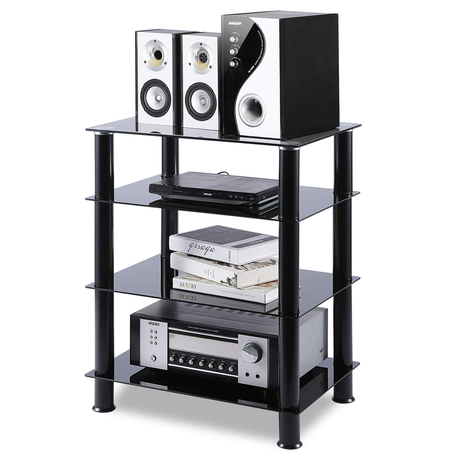 5Rcom 4 Tier Audio Rack Black Glass Component Media Stand Audio Video Tower Shelves, Storage for Xbox,Routers,Cable Boxes, Games Consoles, Hi-fis by 5Rcom