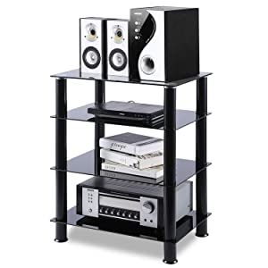 5Rcom 4 Tier Audio Rack Black Glass Component Media Stand Audio Video Tower Shelves, Storage for Xbox,Routers,Cable Boxes, Games Consoles, Hi-fis